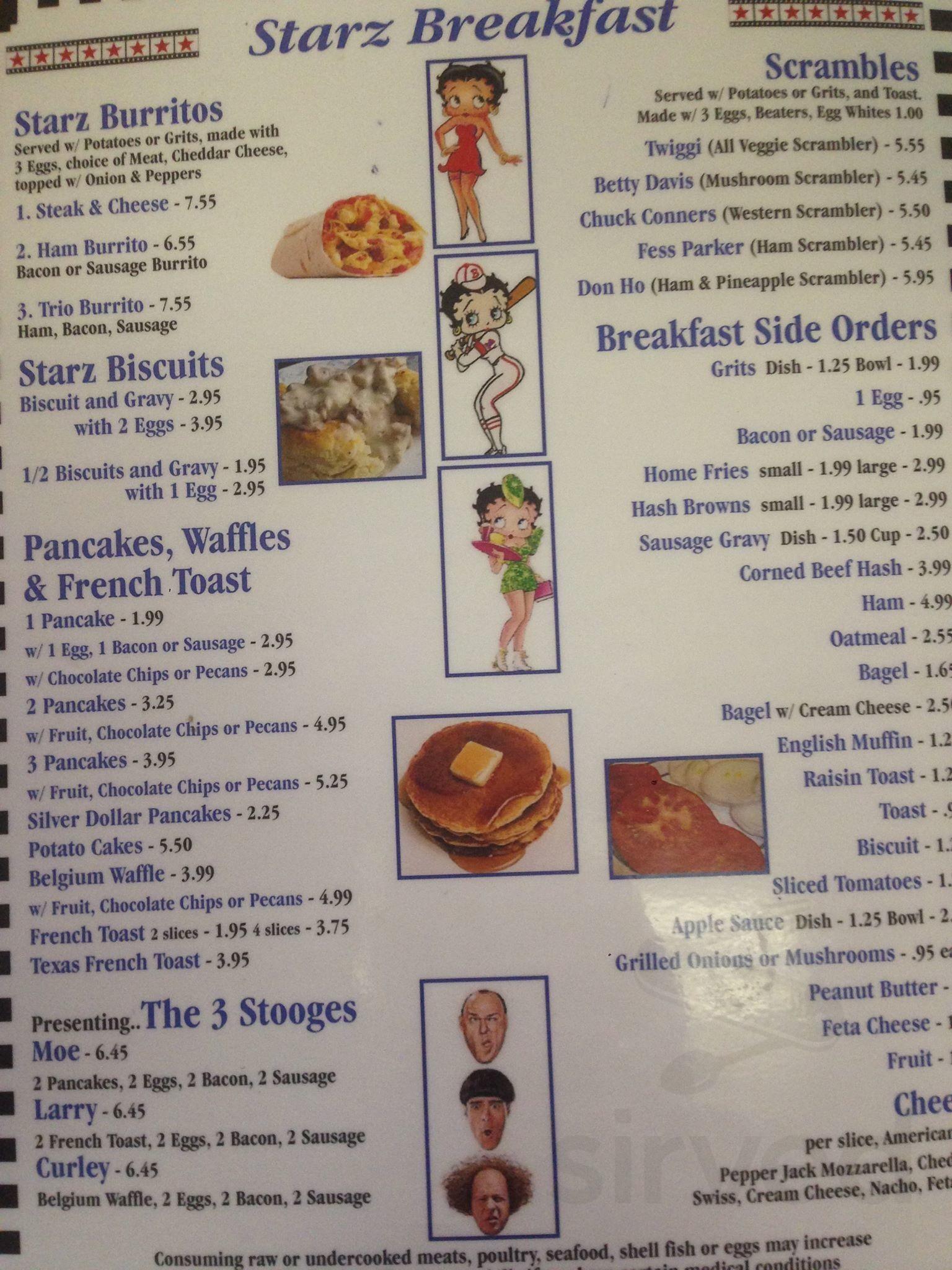 Menu For Starz Cafe Ii In New Port Richey Florida Usa