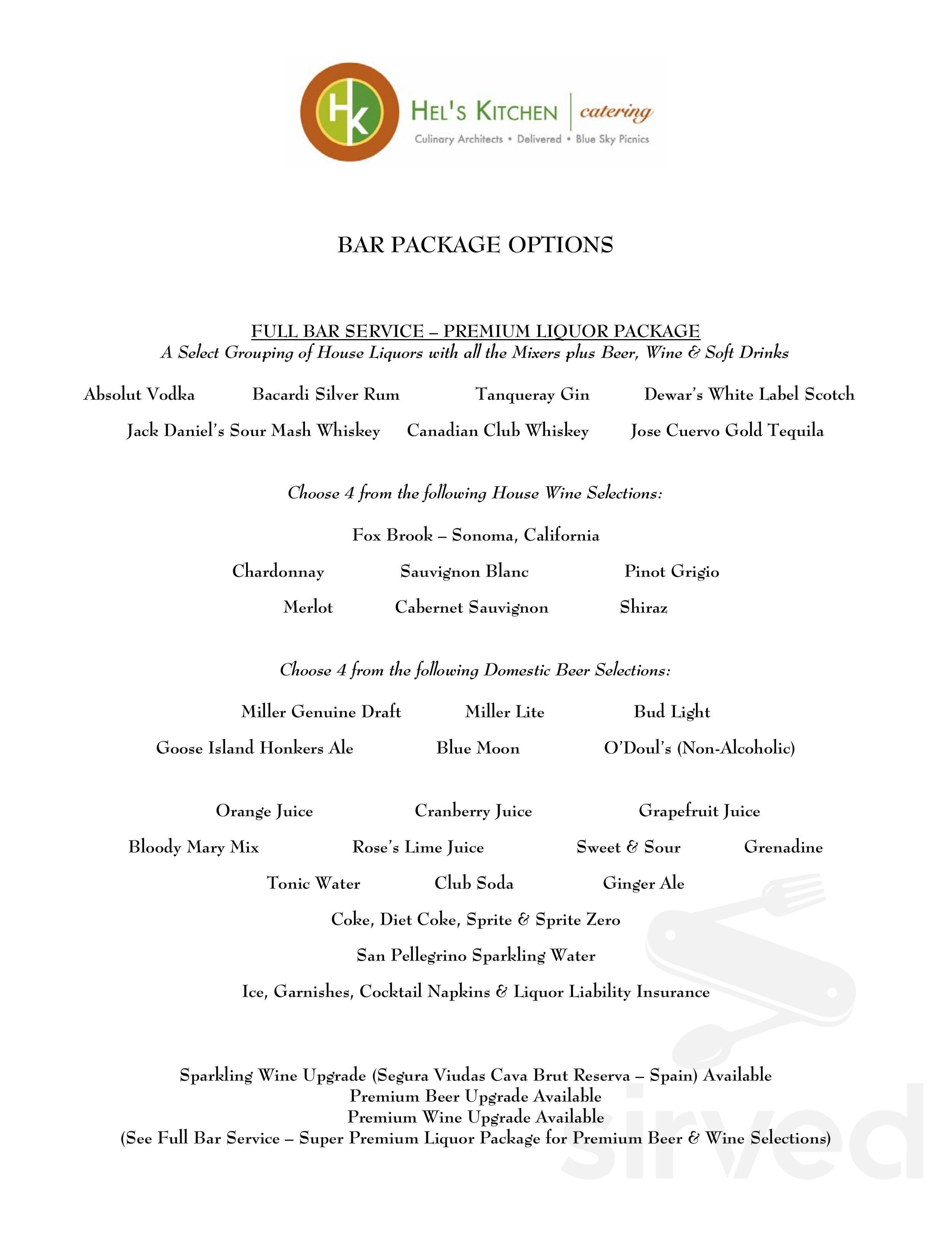 Menu For Hels Kitchen In Highland Park Illinois Usa