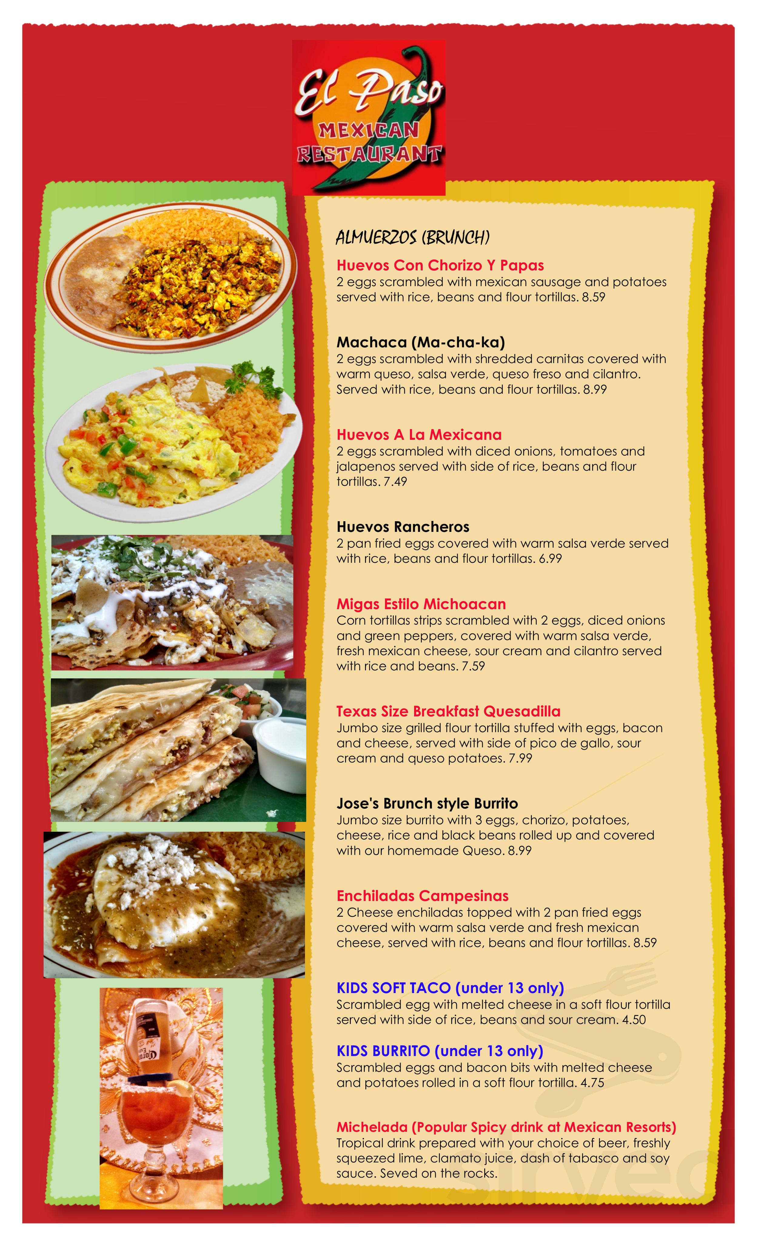 Menu For El Paso Mexican Restaurant In Springfield Virginia