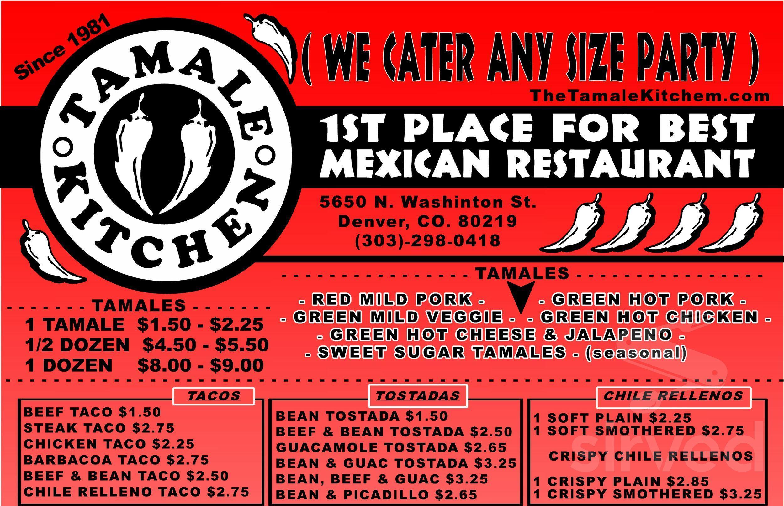 Menu For Tamale Kitchen In Littleton Colorado Usa