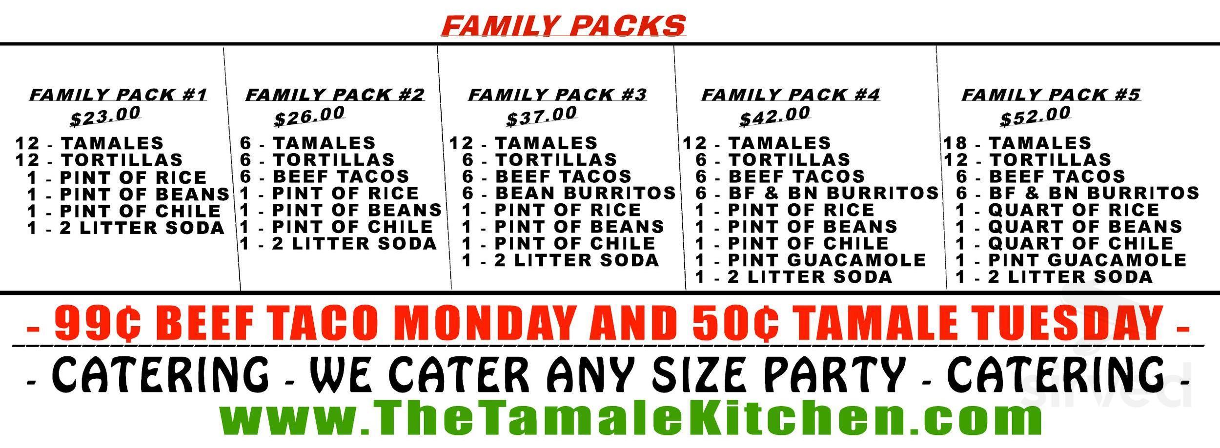 Menu For Tamale Kitchen In Lakewood Colorado Usa