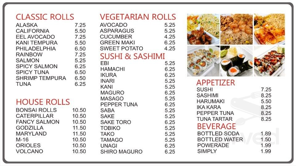 Bonsai Japanese Express Hibachi And Sushi Menu In Windsor Mill Maryland