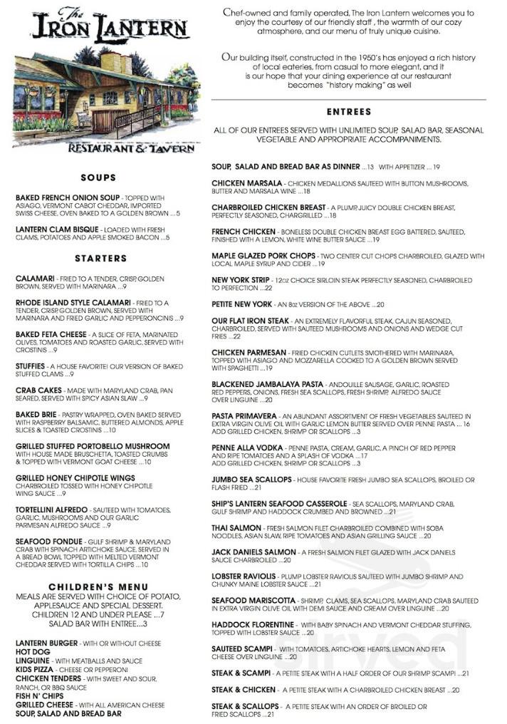 Menu For Iron Lantern Restaurant In Castleton Vermont