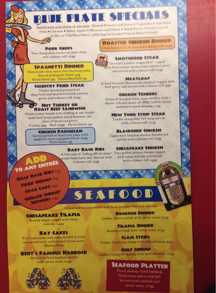 Bert S 50 S Diner Menu In Mechanicsville Maryland Usa