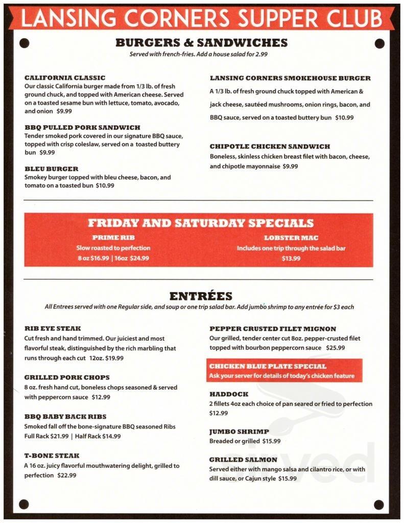 Menu for Lansing Corners Supper Club in Austin, Minnesota