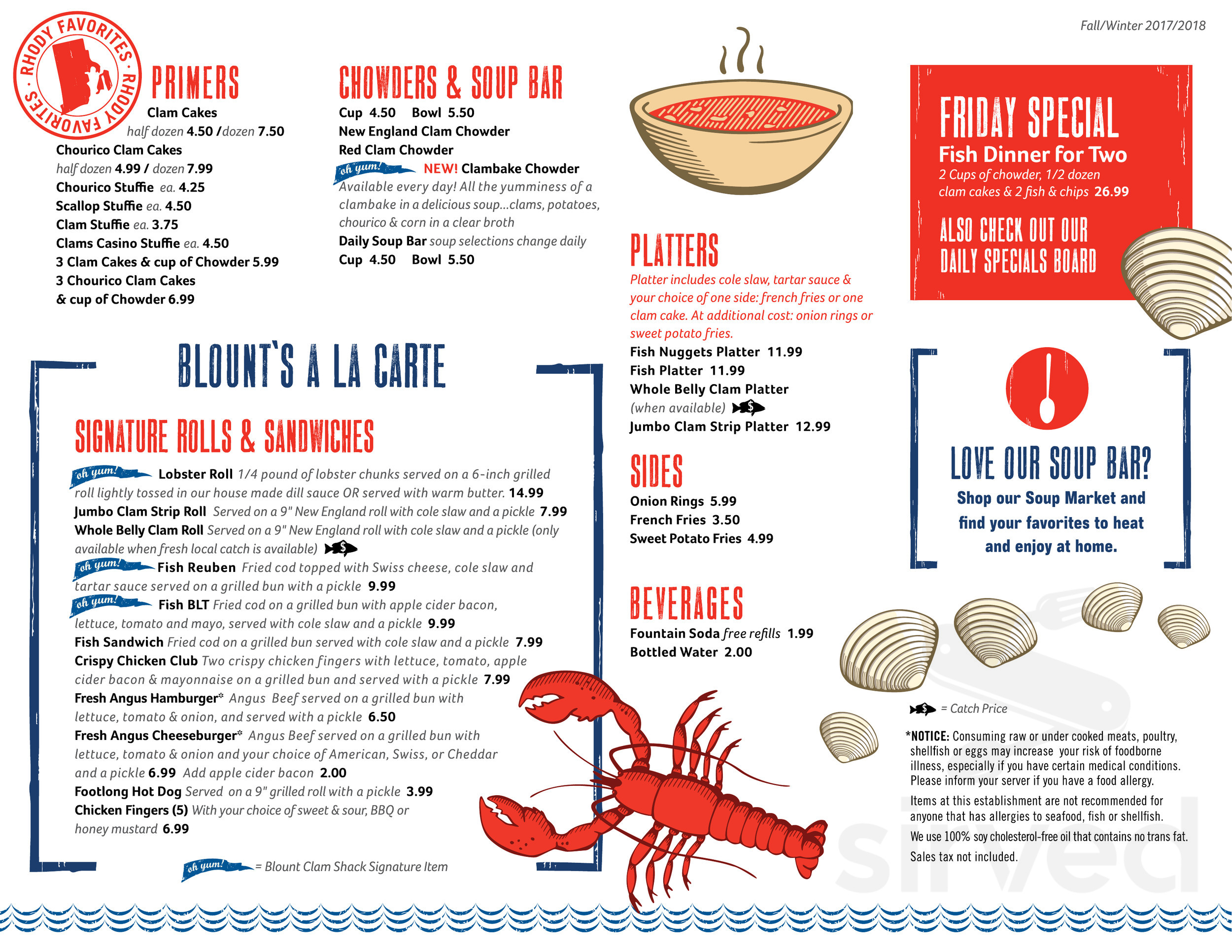 Blount Clam Shack and Company Store menu in Fall River, Massachusetts
