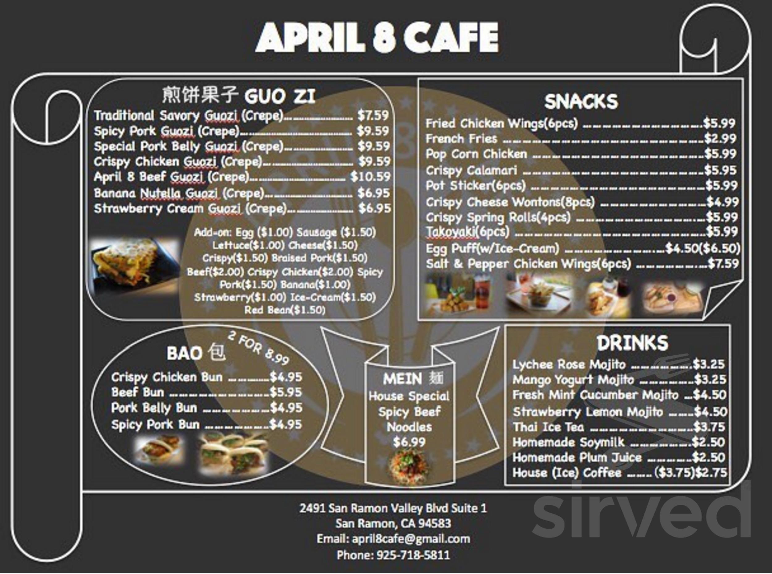 April 8 Cafe Menu In San Ramon California Usa