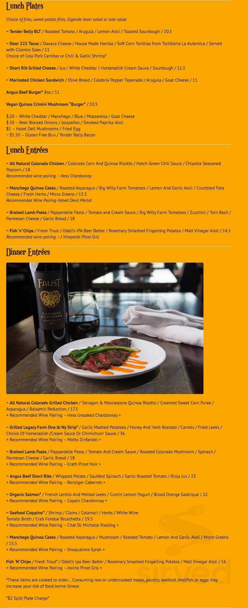Menu for Door 222 food & drink in Loveland, Colorado, USA