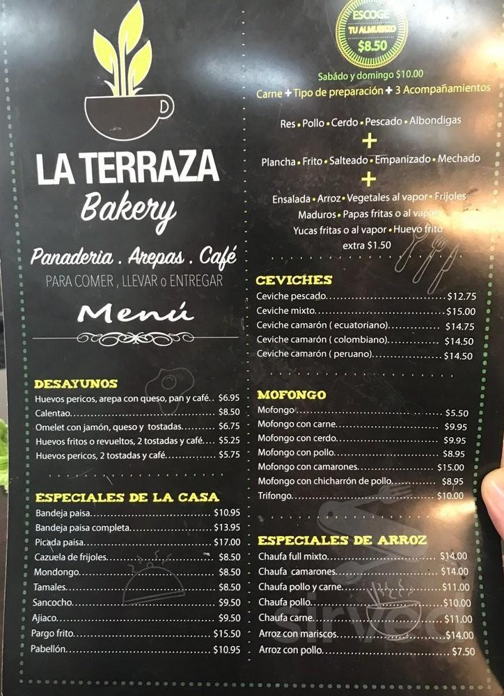 Menu For La Terraza Bakery In Casselberry Florida Usa