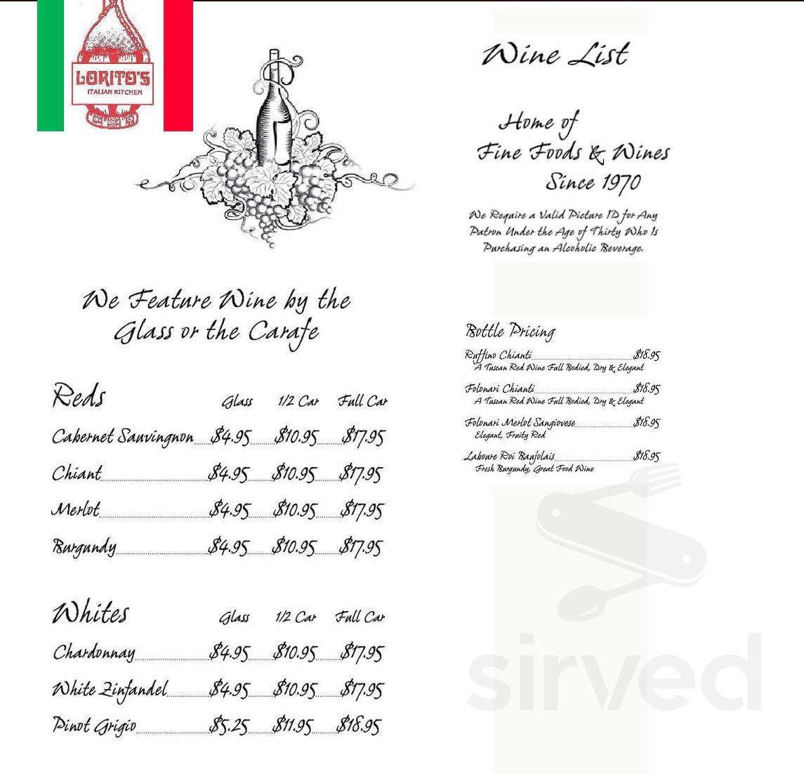 Lorito S Italian Kitchen Menu In Ocala Florida Usa