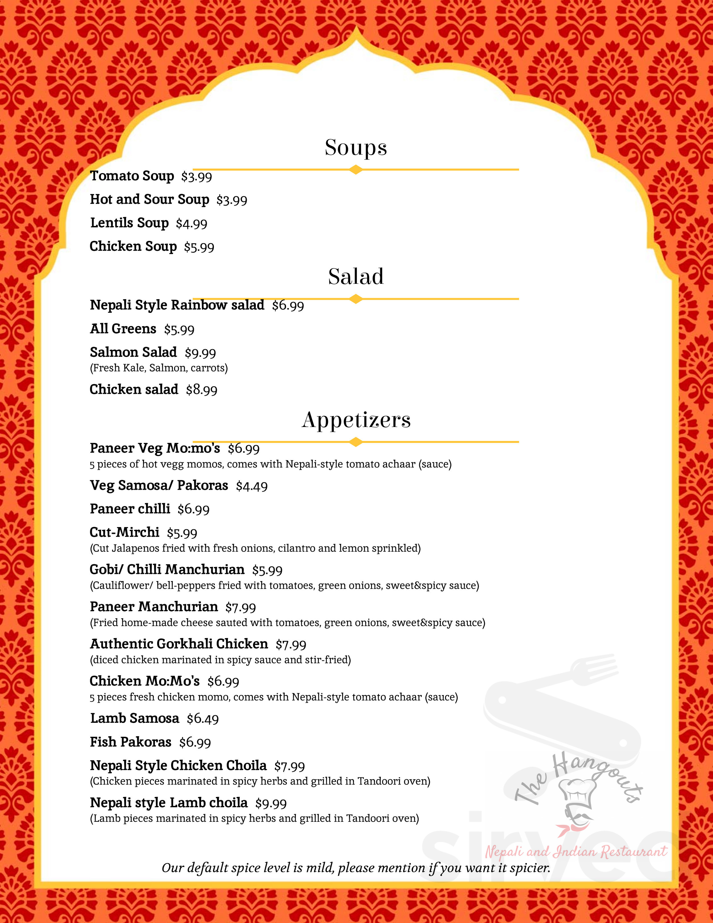 Menu For The Hangouts Nepali And Indian Restaurant In