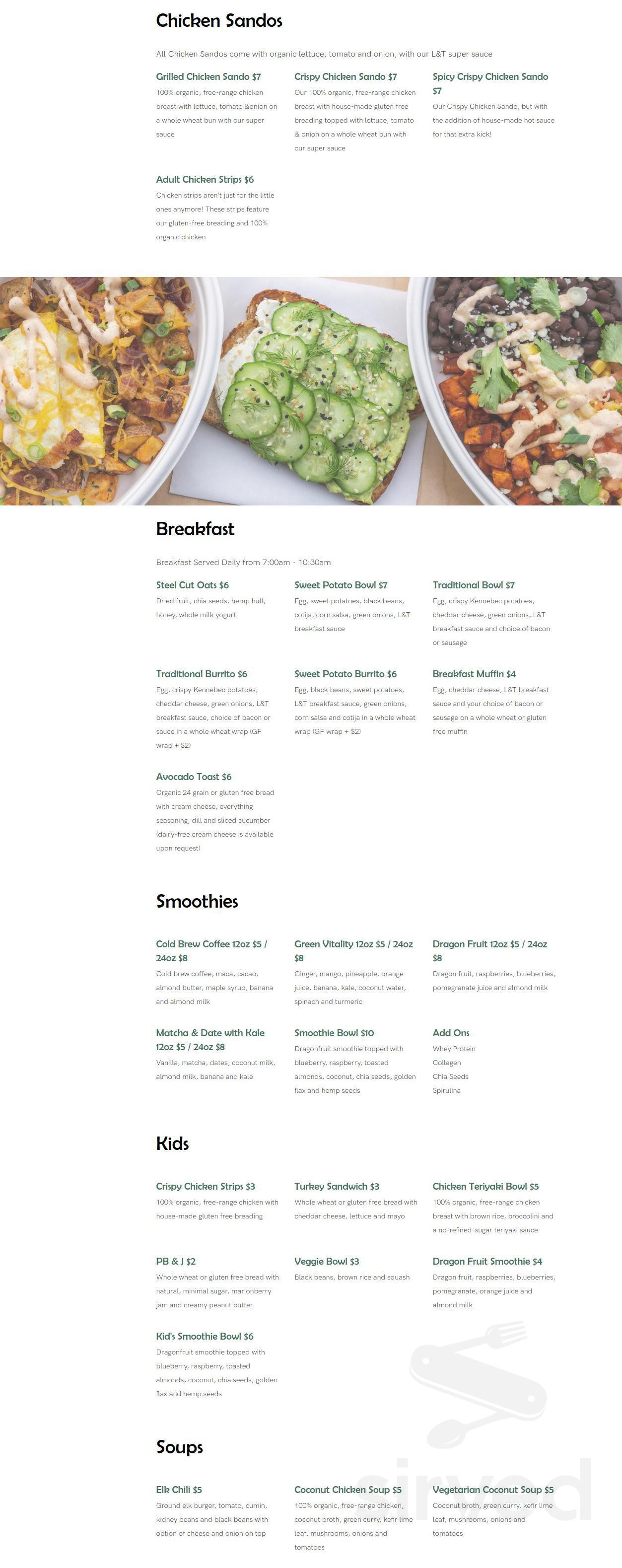 Menu for Life & Time: Free Range Fast Food in Bend, Oregon