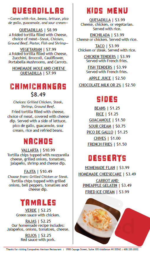 Menu for Compadres Mexican Restaurant in Middleton, Wisconsin