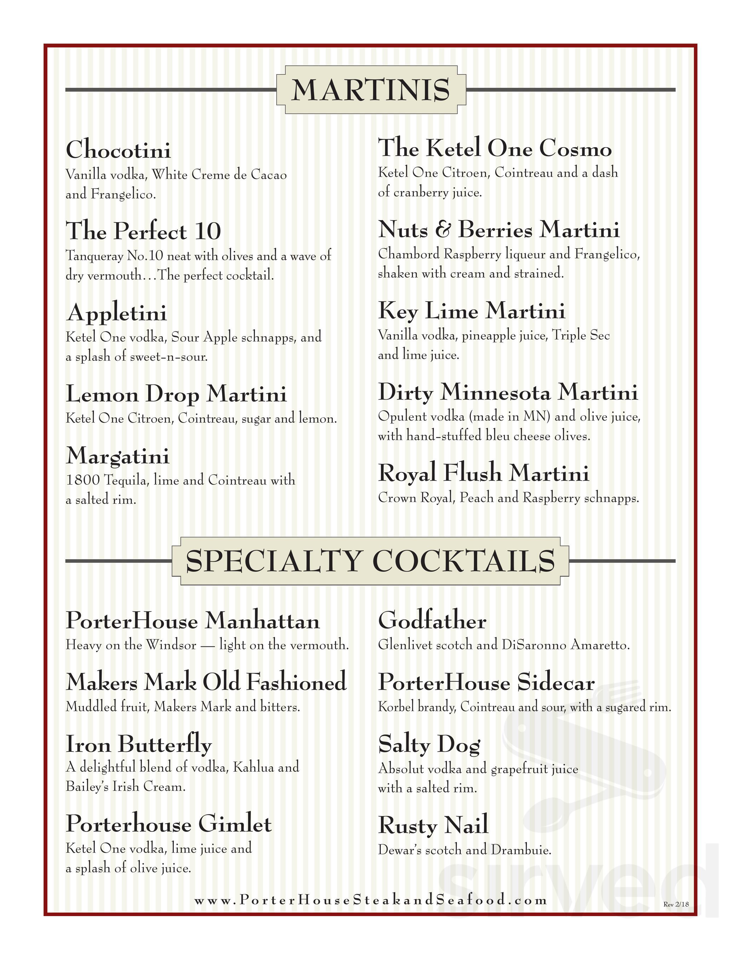Menu For Porterhouse Steak Seafood Restaurant In Lakeville