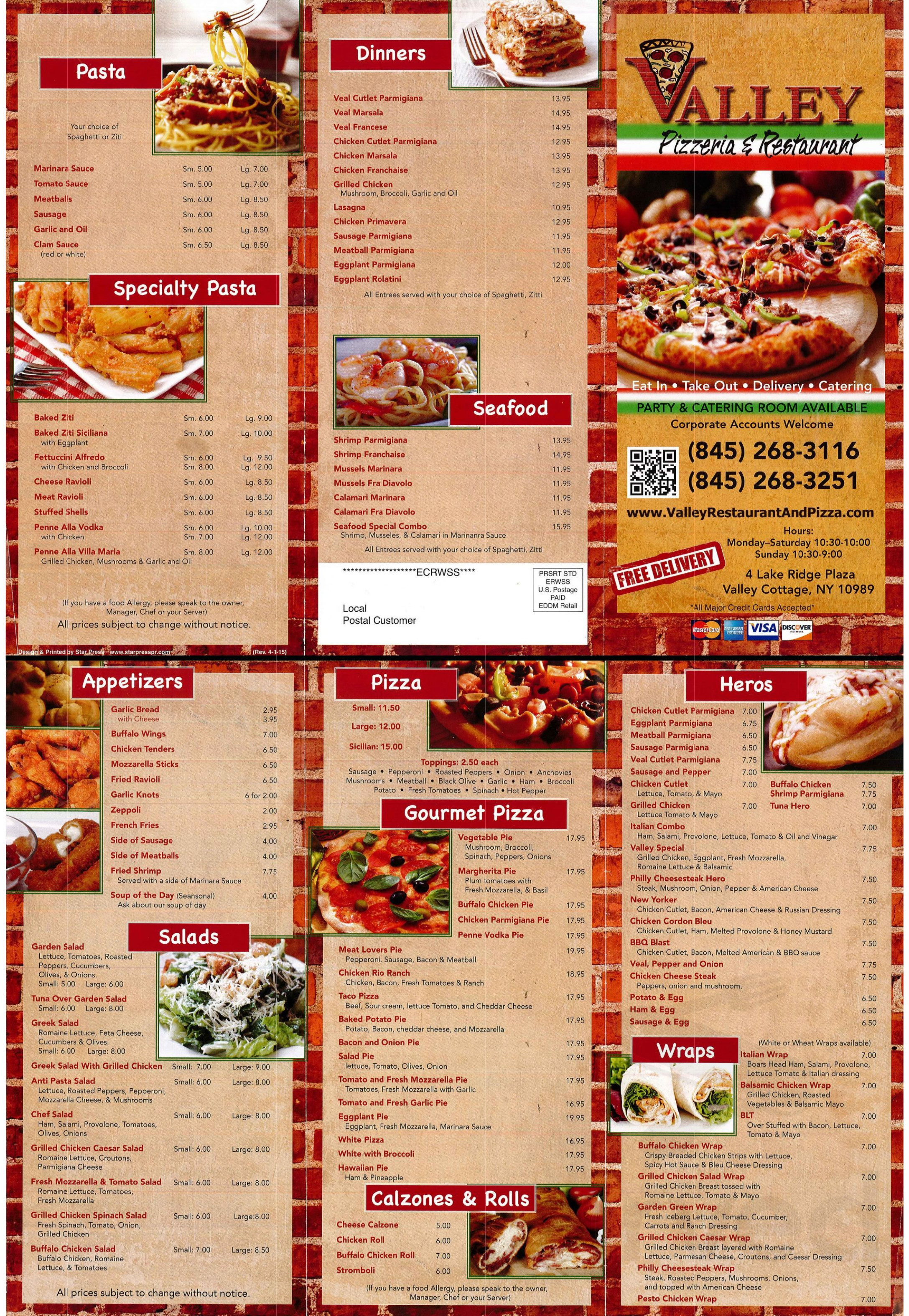 Valley Pizza Menu In Valley Cottage New York Usa