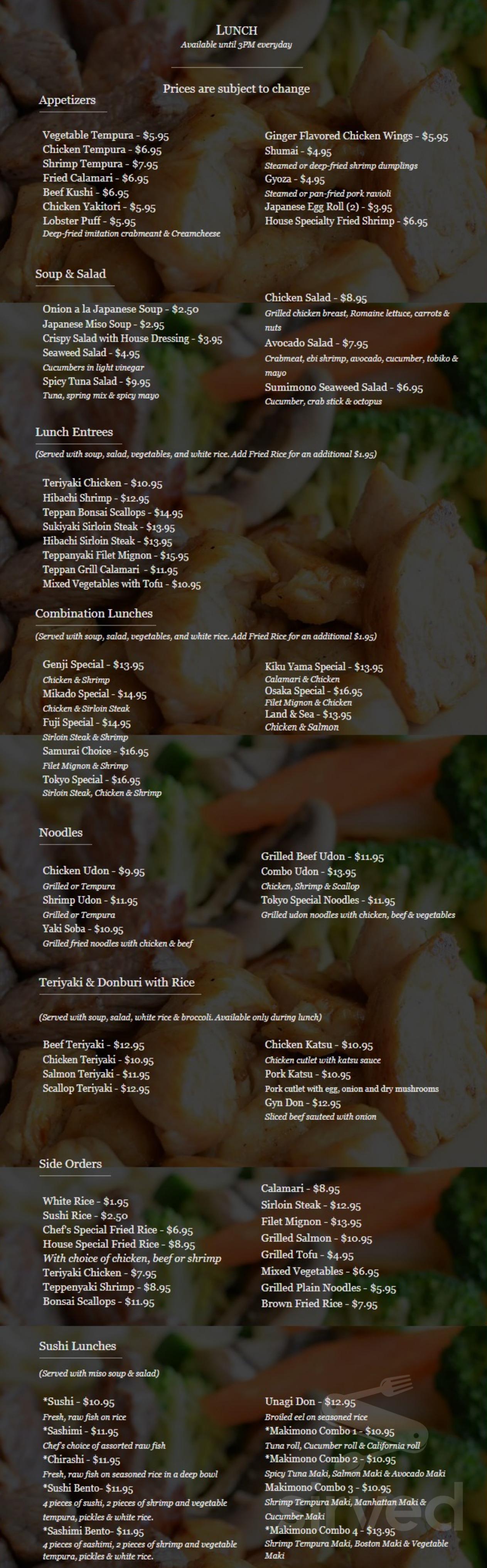 Tremendous Menu For Tokyo Steakhouse In Salem New Hampshire Usa Download Free Architecture Designs Scobabritishbridgeorg