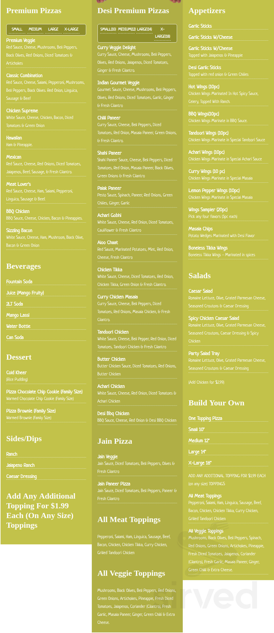 Menu For Curry Pizza House In Fremont California Usa