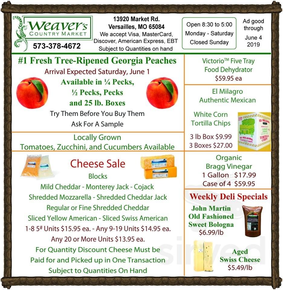 Menu for Weaver's Country Market, Inc  in Versailles, Missouri