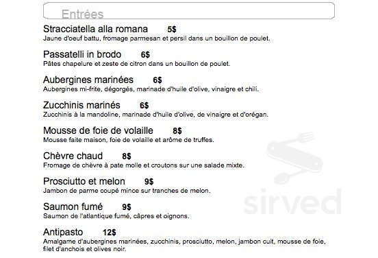 Restaurant Ferrari Menu In Montréal Quebec Canada