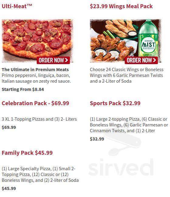 Round Table Pizza Menu In Pleasant Hill California Usa
