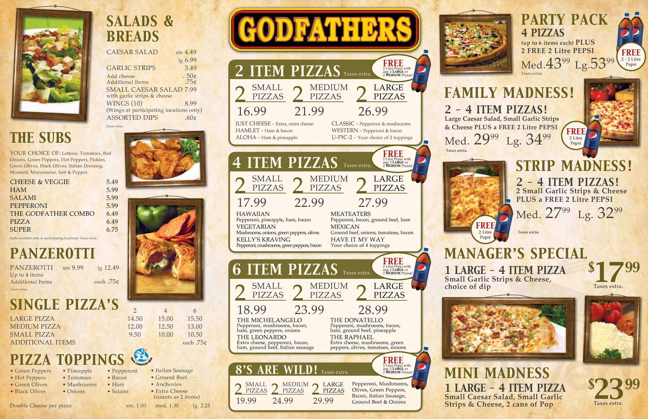 Godfathers Pizza Menu In Harrow Ontario Canada