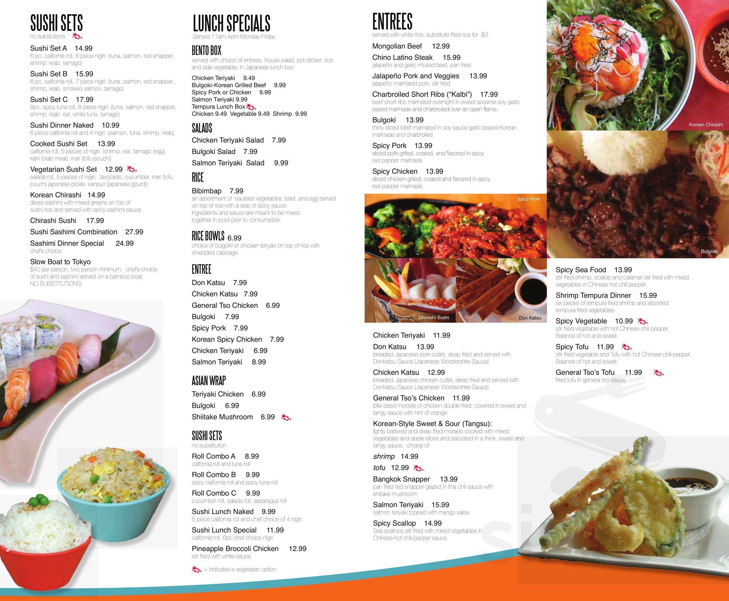 Naked Tchopstix menu in Fort Wayne, Indiana, USA