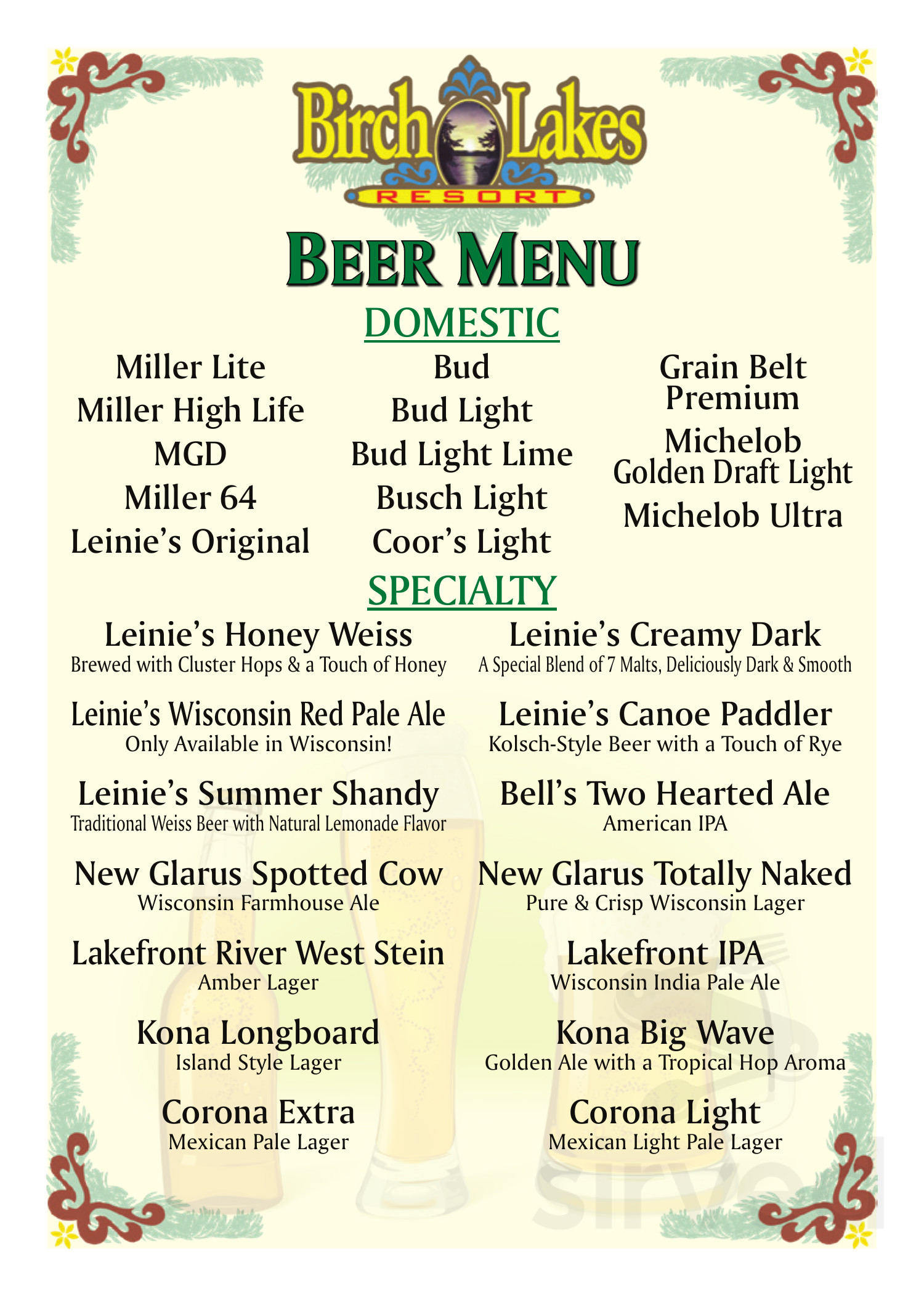 Menu for Birch Lakes Resort in Birchwood, Wisconsin, USA