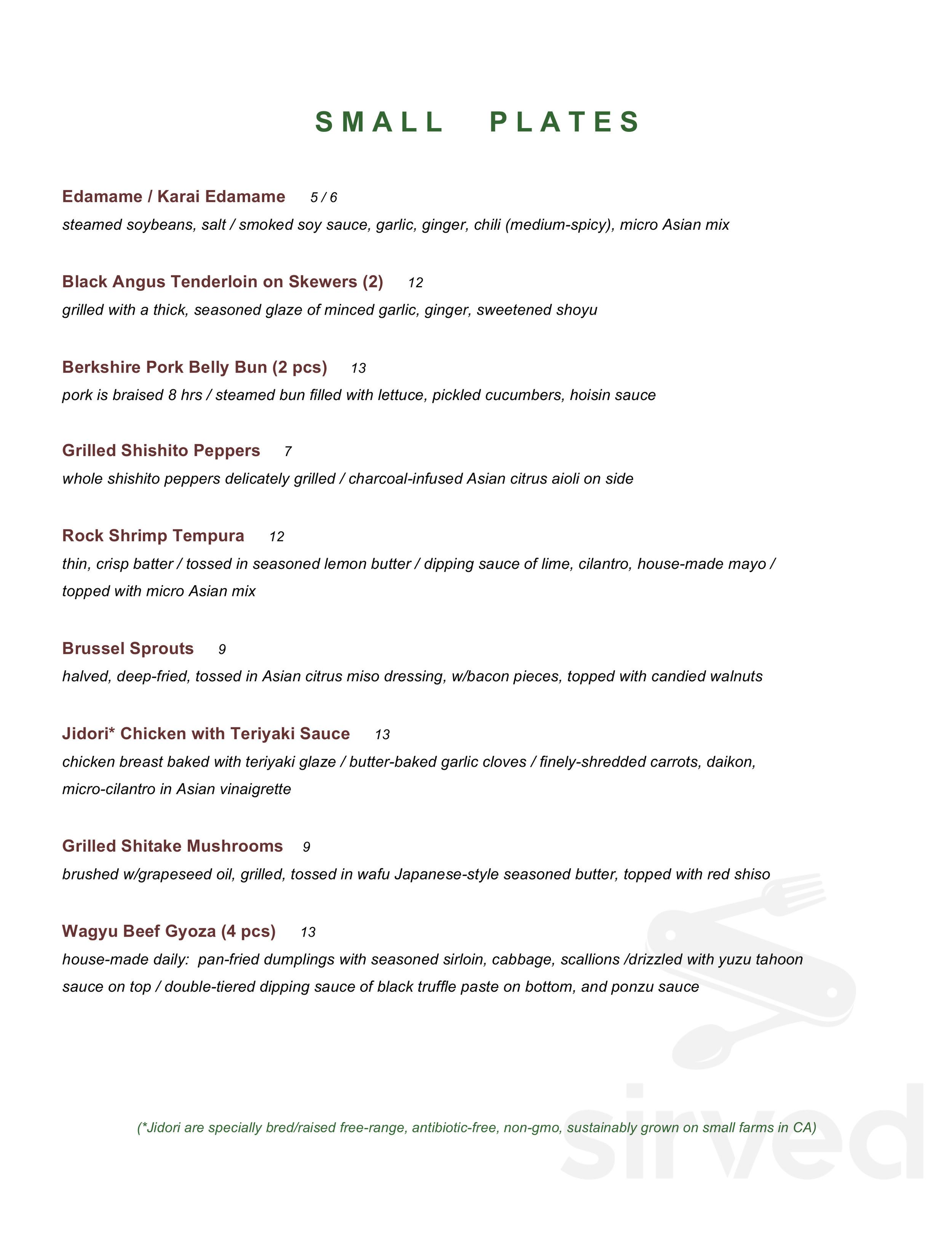 Menu for NAMBA Ramen & Sushi in Naples, Florida, USA