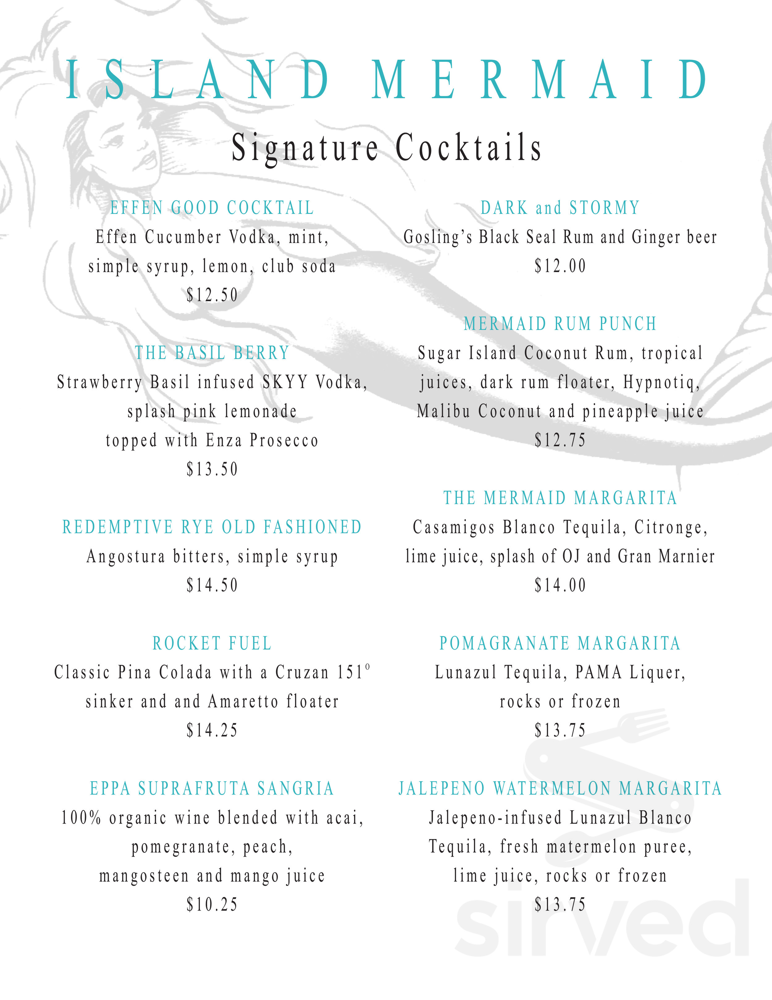 Menu for Island Mermaid in Ocean Beach, New York, USA