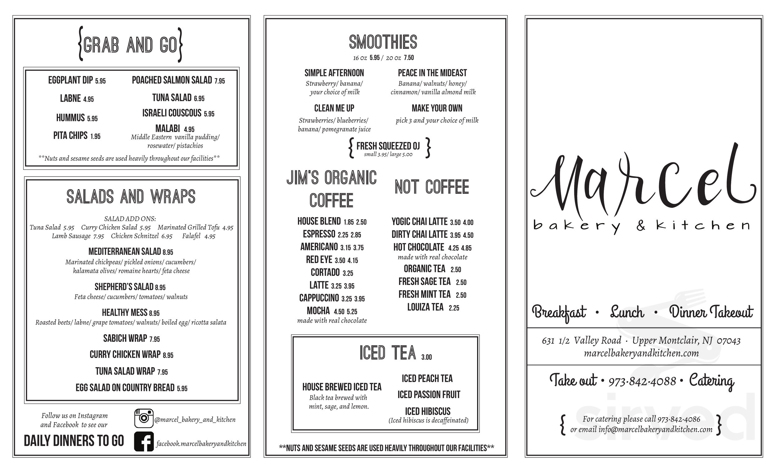 Menu for Marcel Bakery and Kitchen in Montclair, New Jersey