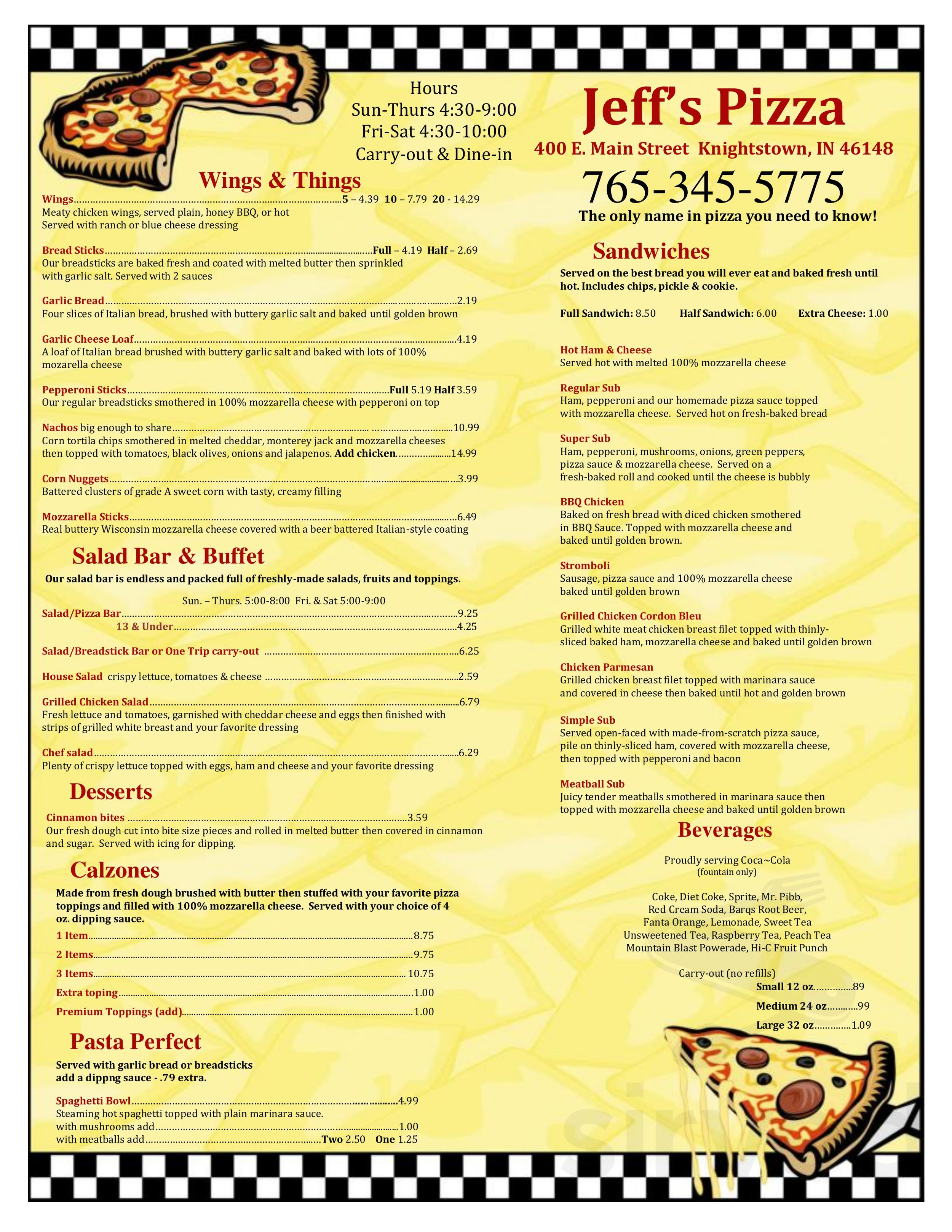 Knightstown Indiana Map.Menu For Jeffs Pizza In Knightstown Indiana Usa