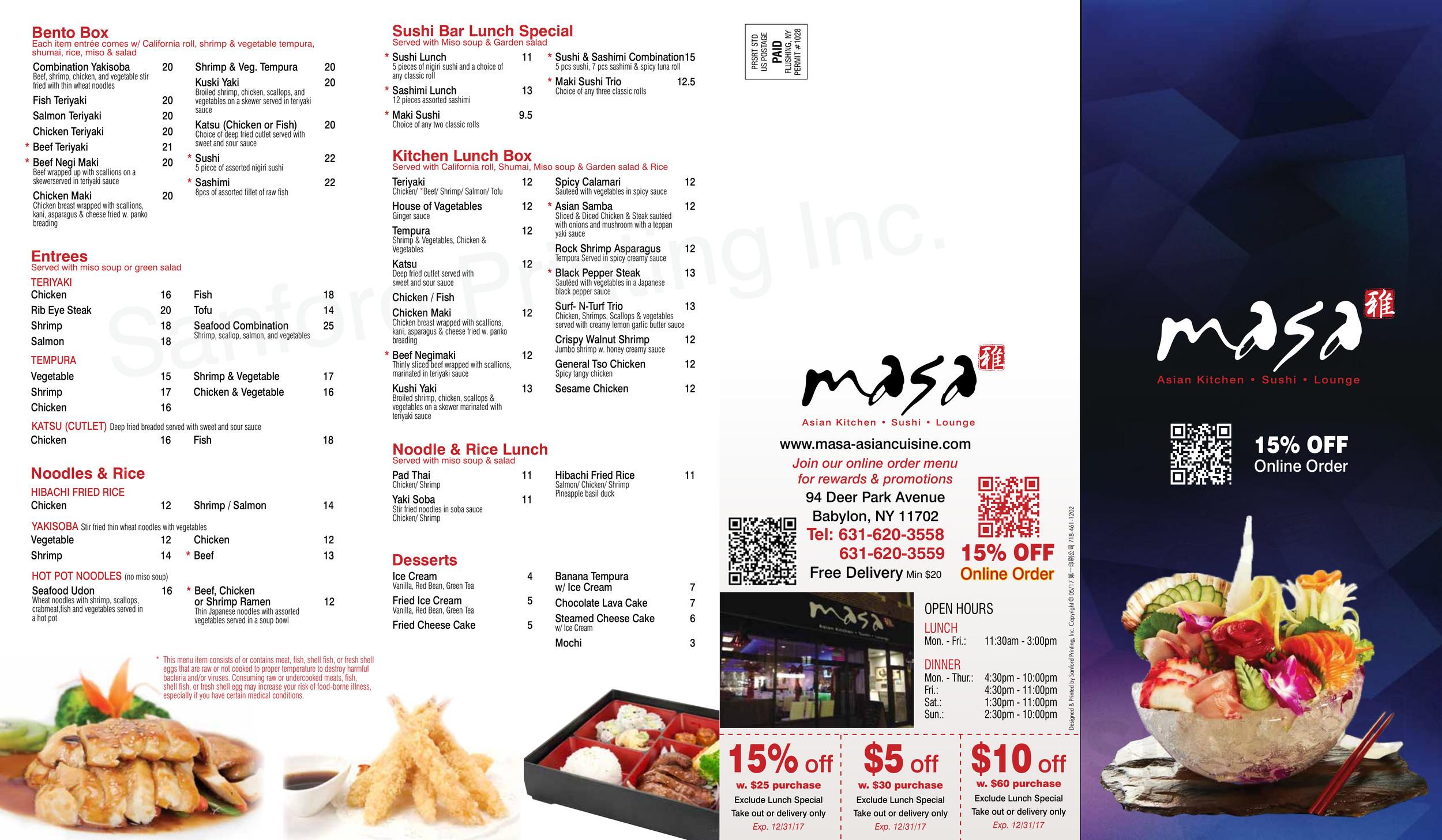 Menu for Masa Asian Cuisine in Babylon, New York, USA