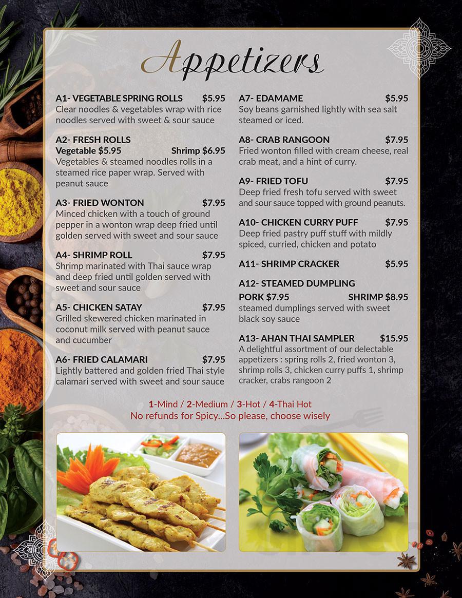 Ahan Thai Kitchen Menu In Fernandina Beach Florida Usa