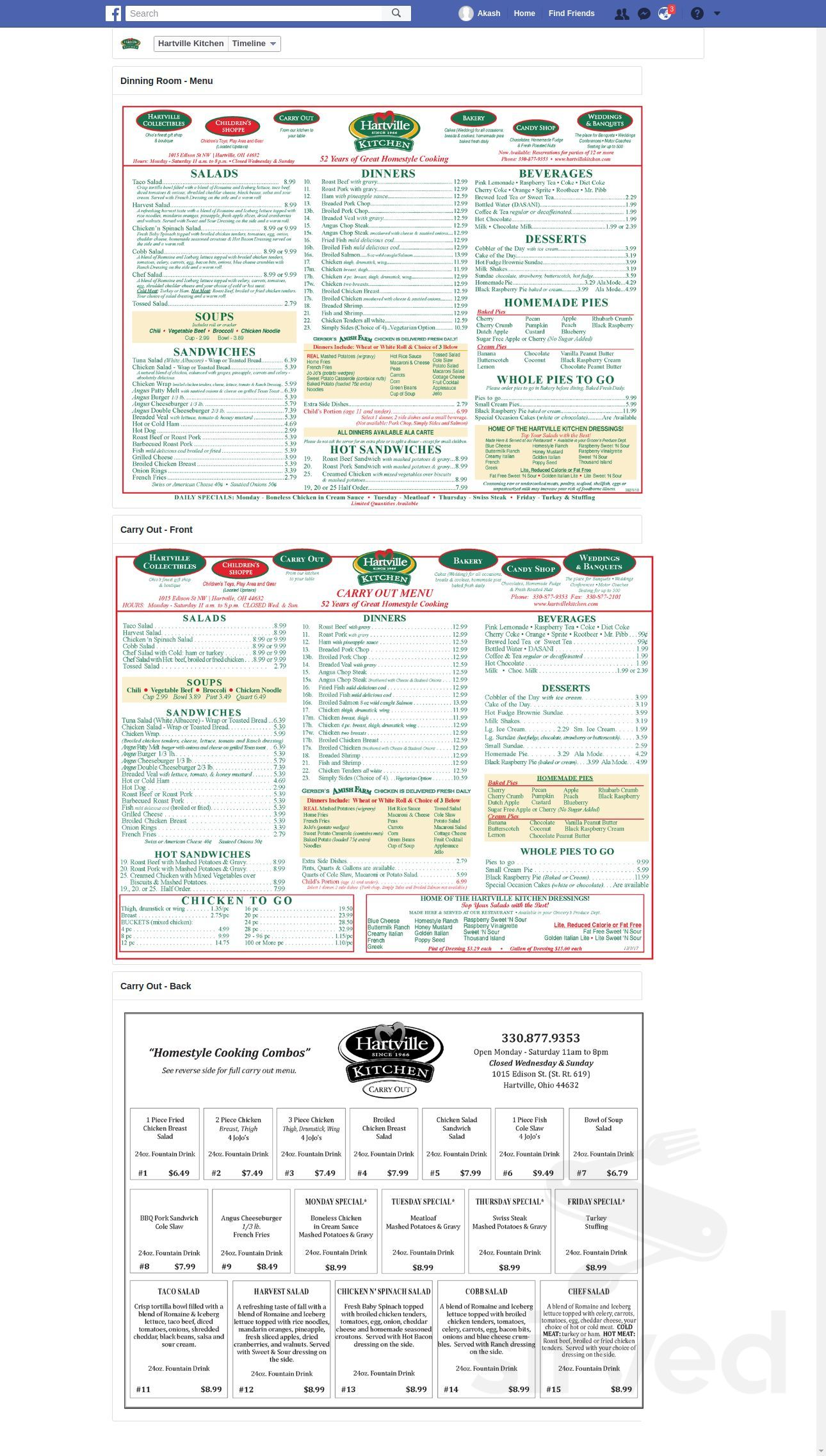 Menu For Hartville Kitchen In Hartville Ohio Usa