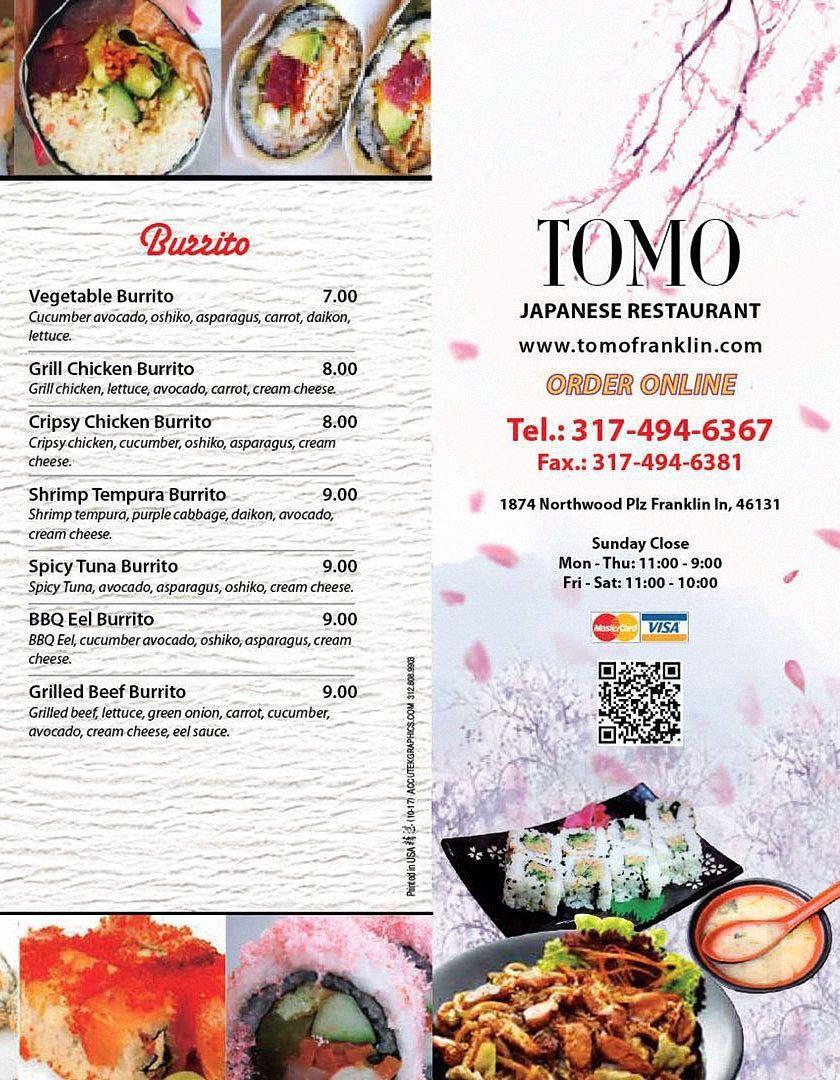 Menu For Tomo Japanese Restaurant In Franklin Indiana