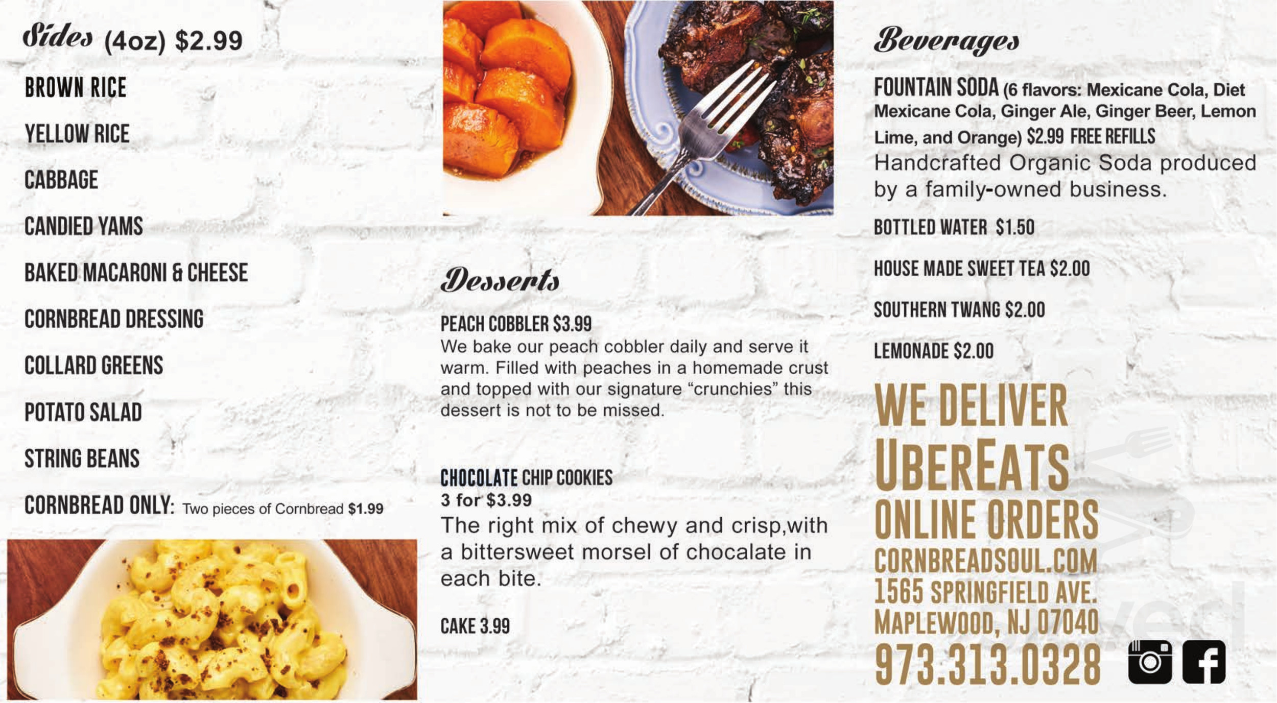 Menu For Cornbread In Maplewood New Jersey Usa