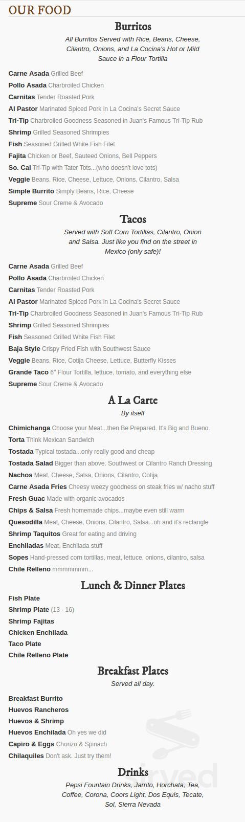 La Cocina Economica Menu In Chico California Usa