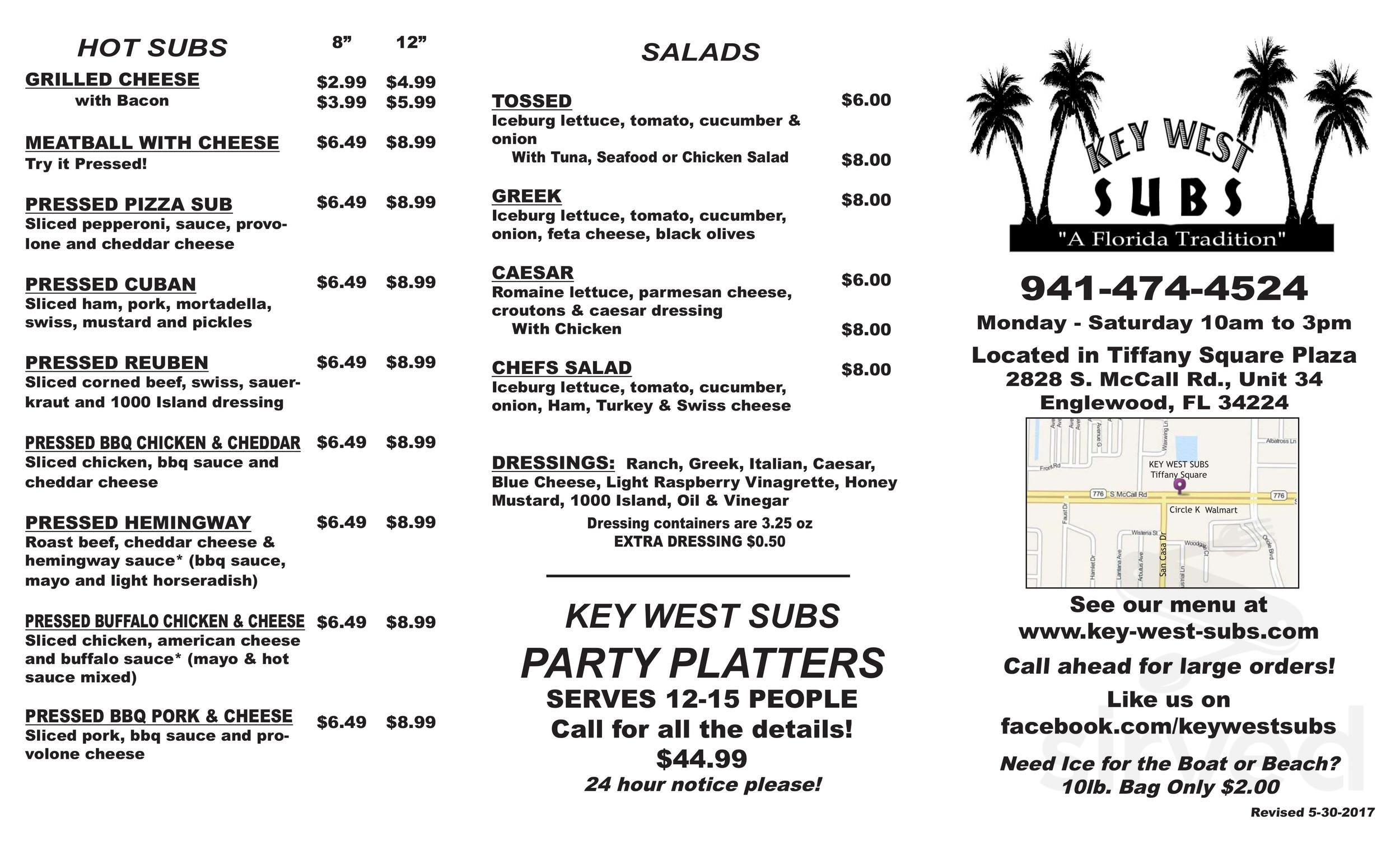 Key West Subs menu in Englewood, Florida, USA