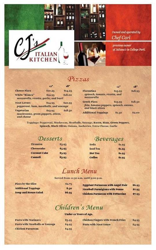 Cj S Italian Kitchen Menu In Longwood Florida Usa