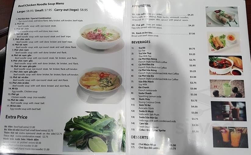Menu for Pho Bowl in San Jose, California, USA