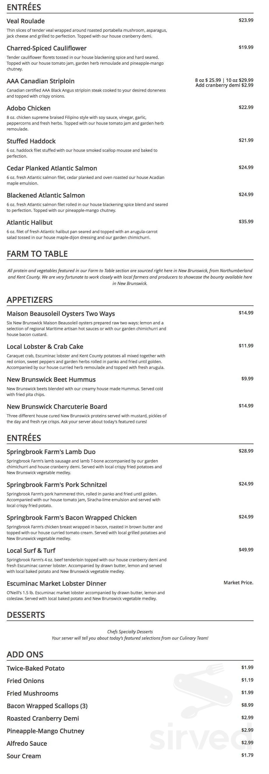 1809 Menu 1809 menu in miramichi, new brunswick, canada