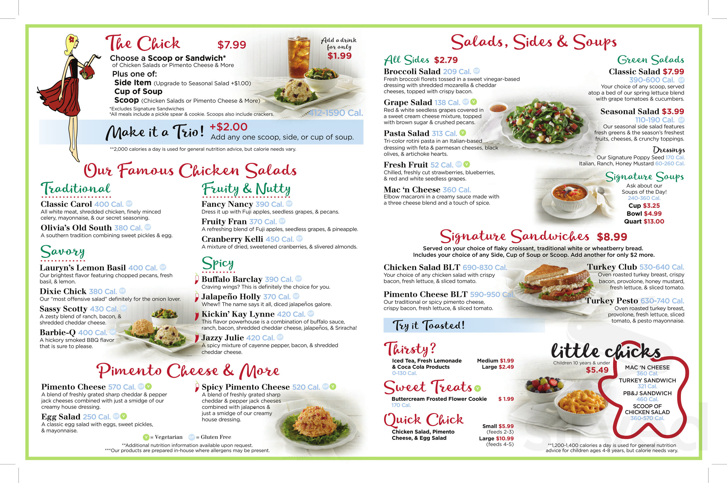 Chicken Salad Chick Menu In Olive Branch Mississippi