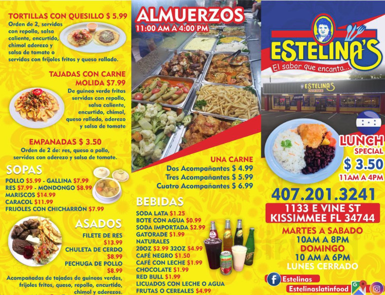 Menu For Estelinas Restaurant In Kissimmee Florida Usa
