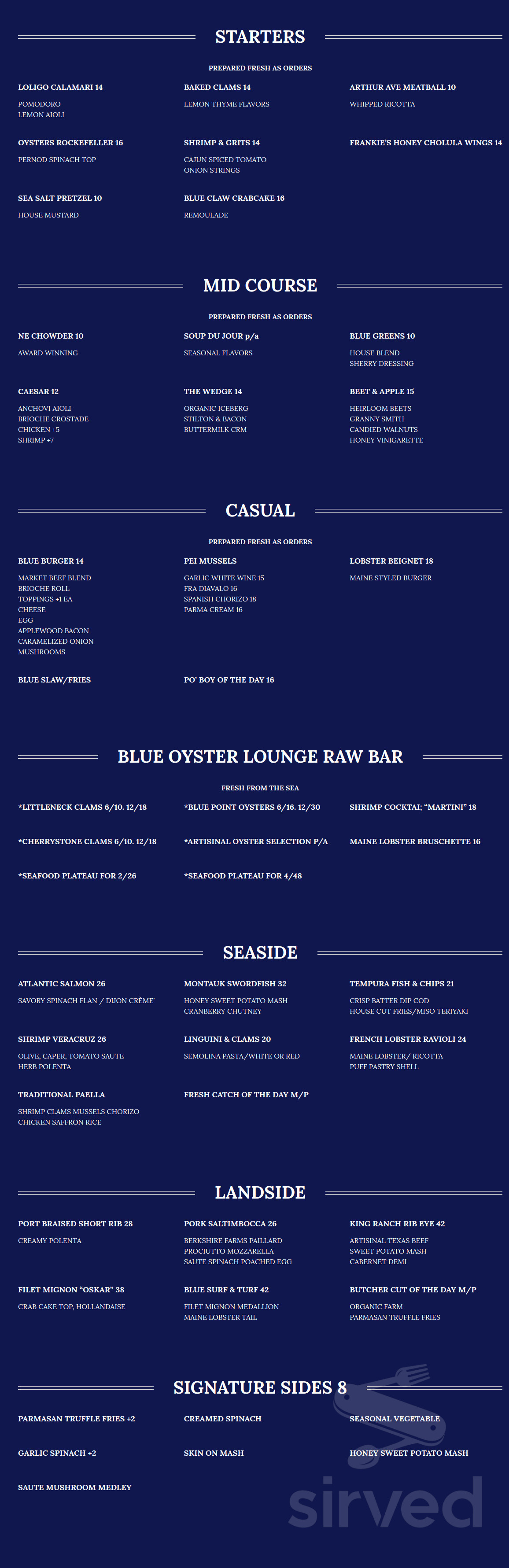 Menu For Blue Oyster Bar And Seafood Restaurant In Islip New York
