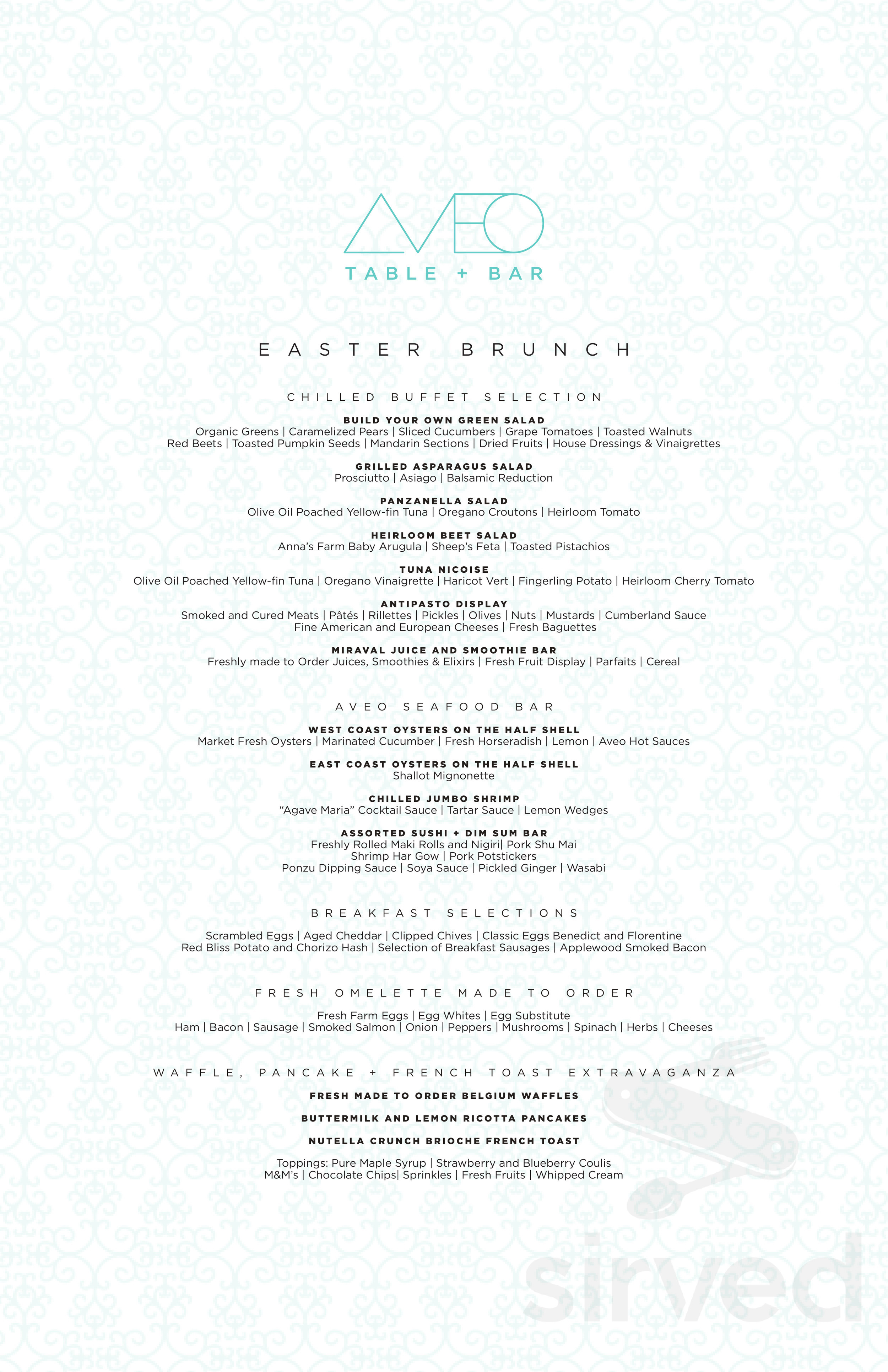Menu for AVEO Table + Bar in Dana Point, California, USA