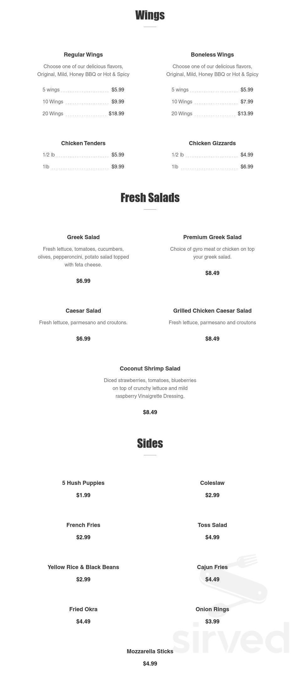 Gyros and Seafood Express menu in St ...