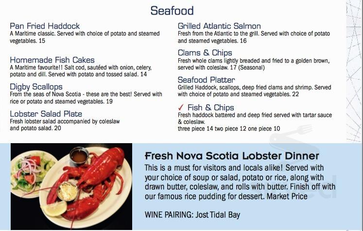 Menu for Bluenose II Restaurant in Halifax, Nova Scotia