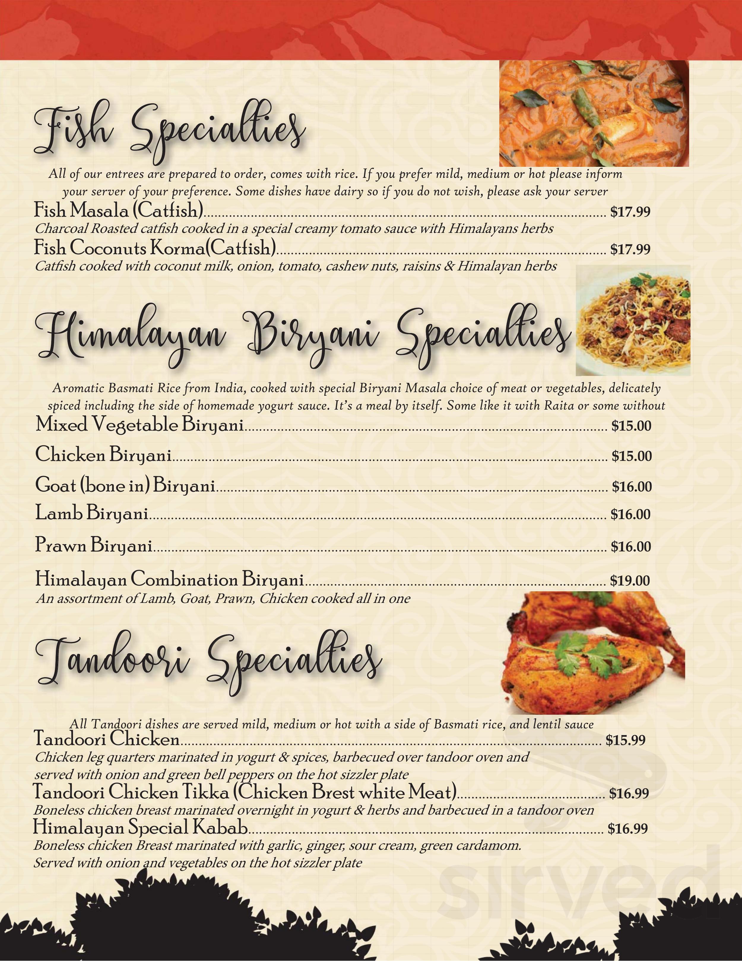 Himalayan Kitchen Menu In Rapid City South Dakota Usa
