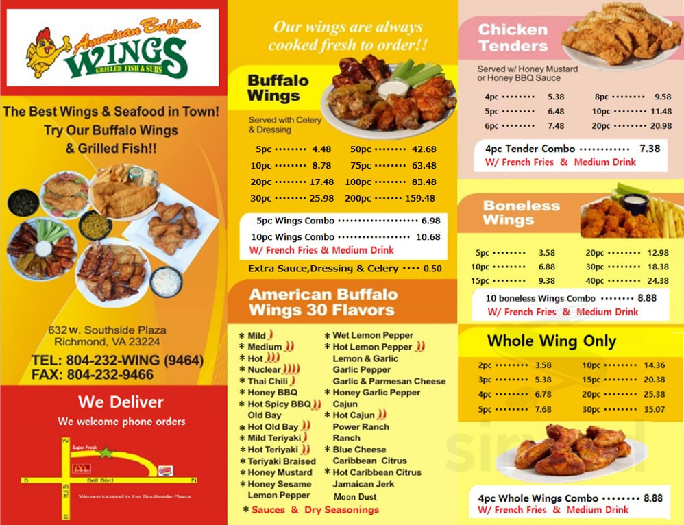 American Buffalo Wings Grilled Fish And Subs Menu In Richmond Virginia