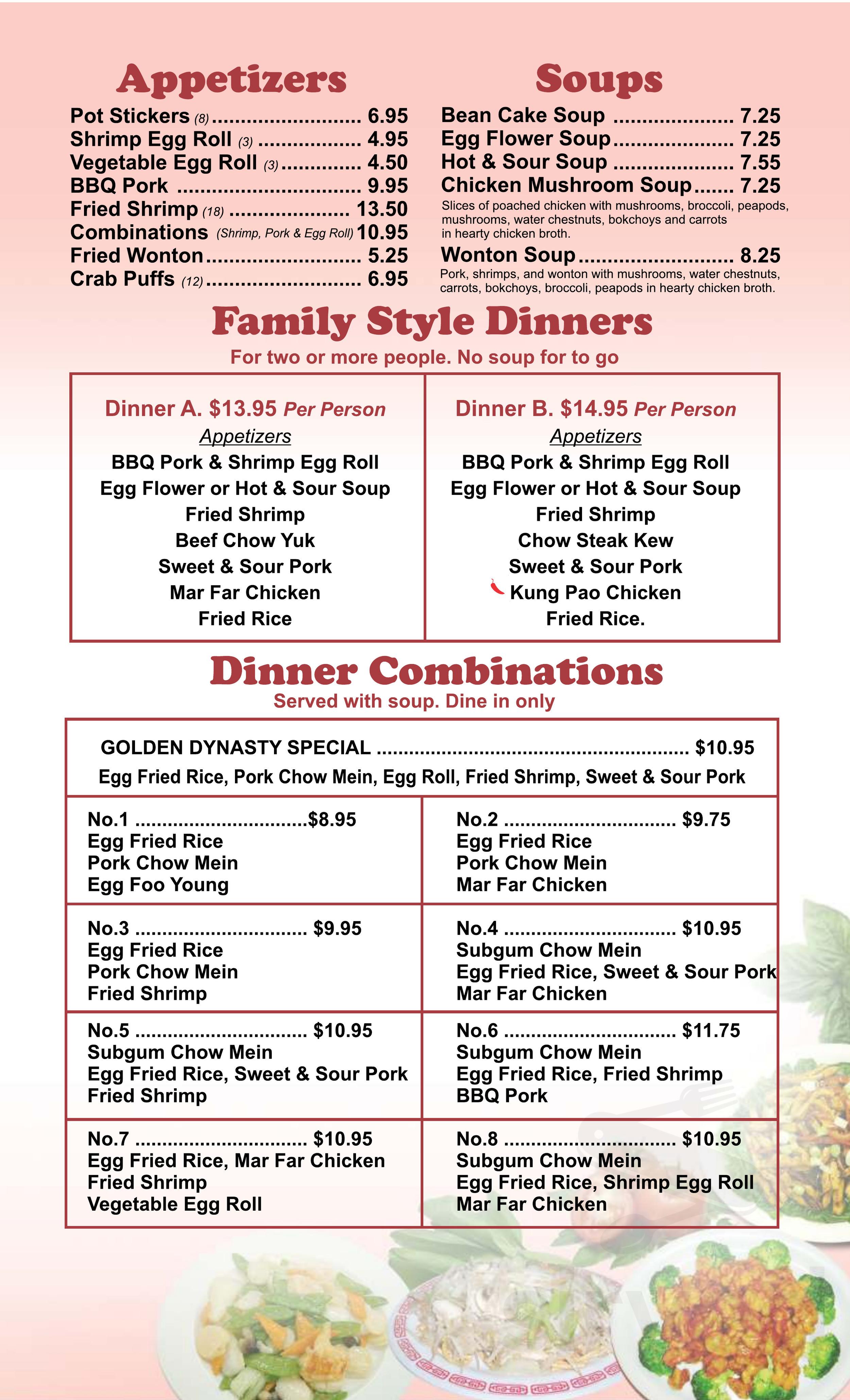 Golden Dynasty menu in Portland, Oregon, USA